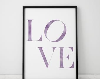 Love Watercolor INSTANT DOWNLOAD Printable Art, Watercolor Printables, Watercolor Art, Printable Art, Instant Download Printable Art, Love