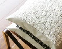 Knit Wool Pillow, Knit Lace Pillow, Estonian Lace Pillow, Decorative Throw Pillow