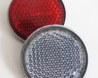 Soviet Bike Reflector,  Set of 2 Red and White Bicycle Light Reflector, Made in USSR
