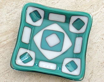 Small Square Fused Glass Dish with a White and Teal Geometric Pattern