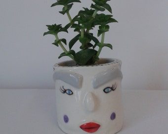 Ceramic 3d Face Planter. Ceramic Plant Pot, Ceramic Planter, Handmade Ceramic Planter, Ceramic Pot