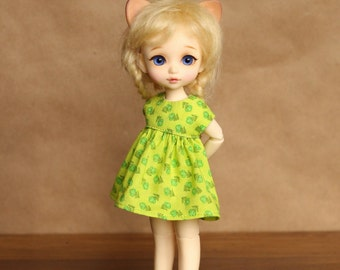 Spring Green Tulip Dress for Lati Yellow or Pukifee Doll | Also fits Tiny Delf and other tiny bjd dolls in the 16cm range
