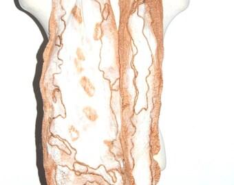 Merino Wool Scarf Silk Wrap Nuno Felt Shawl Felted Collar Unique Handmade Fashion Clothing Women's Scarves Beige White Gift for Her Felting