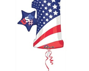 """Huge 36"""" Patriotic number 1 balloon. Memorial Day decor. 4th of july party. Summer Party. Number balloons. USA balloons. Olympics. Patriotic"""