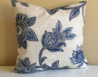 Farmhouse Pillow, Shabby Chic Pillow, French Country Cottage Blue Floral Pillow Blue Decor Accent Throw Pillow Cushion Cover Lumbar Pillow
