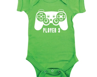 Player 3 Onesie, Video Game Onesie, Green Bodysuit, Gamer, Matching Family Outfit