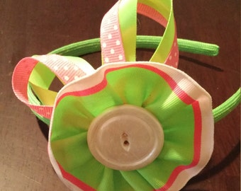 Green and Pink Rosette Bow