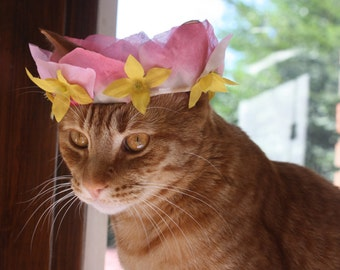 Rose Petal Flower Crown for Cats with Yellow