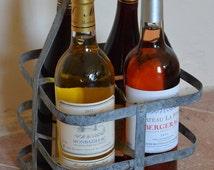 French Vintage Metal Bottle Carrier, Wine Rack, Bottle Storage, Pantry Organization, Kitchen, Bottle Rack, Vintage, French, Wedding Decor