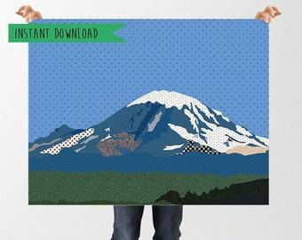 Mount Rainier Print, Abstract Mountain Print, Textured Print, Instant Download, Printable Mountain Art, Pacific NorthWest Art Print