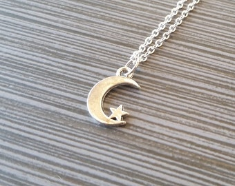Silver Moon Necklace - Moon and Star Charm Necklace - Personalized Necklace - Custom Gift - Initial Necklace - Mom Necklace Daughter Gift