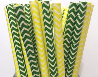 Green Bay Packers Paper Straws - Set of 25 - Yellow/Green Straws - Cake Pop Sticks - Drinking Straws