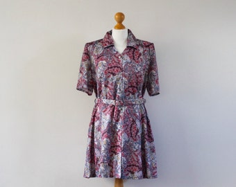 SALE Vintage 1980s Mini Dress | Paisley Patterned Dress | Short Sleeved Dress