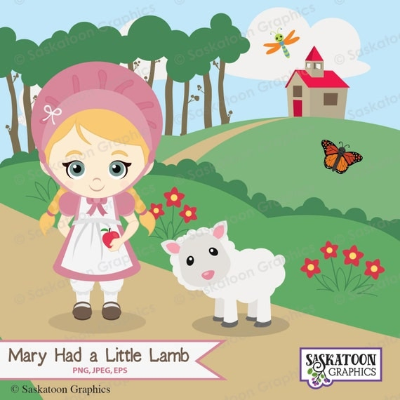 Mary Had a Little Lamb Clipart Instant Download File