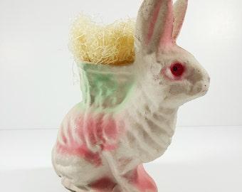 Vintage Antique Paper Mache Easter Bunny Rabbit Green and Pink. Vintage Easter Decorations. Papier Mache.