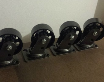Metal Casters, Rustic casters, heavy duty, (4) wheels included, metal wheels, rustic wheels