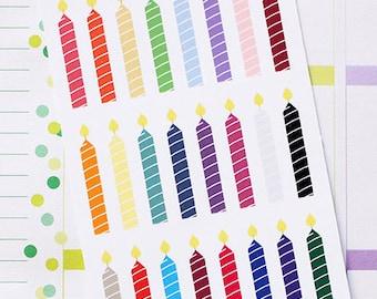 Planner Stickers Birthday Candle for Erin Condren, Happy Planner, Filofax, Scrapbooking