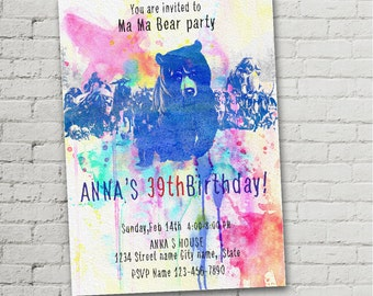 "Ma Ma Bear my spirit animal  watercolor size 5""x7"" inches Birthday Party , Digital Prints"
