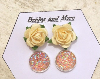 Earring Gift Set of 2 Wedding Earrings Will You Be My Bridesmaid Gift Set Bridesmaid Jewelry Flower Girl Earrings Pink Earrings Druzy Studs