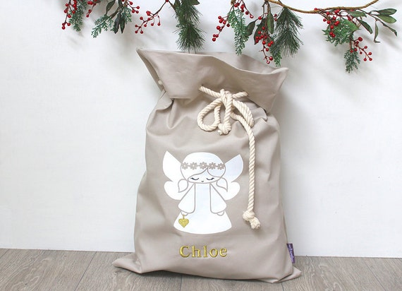 Personalised Santa Sack Angel with Gold Heart in natural