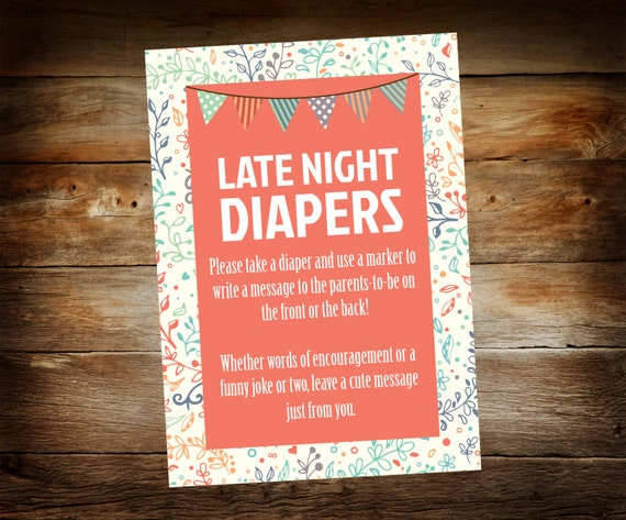 Late Night Diapers Sign Diaper Thoughts Sign Baby Shower