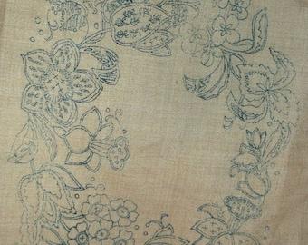 Vintage Crewel Work Linen Canvas, Embroider Transfer