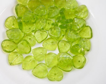 green leaf beads, Czech glass beads, clear olive green leaf beads, holiday leaf beads, Czech glass leaf beads