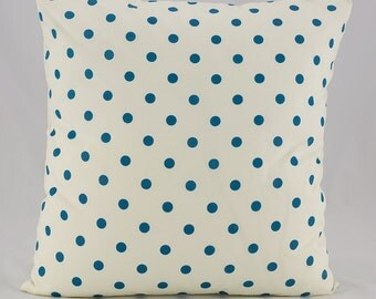 Throw pillow cover, Teal Polka Dots Throw Pillow Cover, Teal Geometric Throw Pillow, Decorative throw pillow, Pillow Covers, Teal Polka Dots