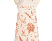 Cocina con Amor - APRON, Cook with love, cotton, herbs, salad lover, kitchen essential, cool gift