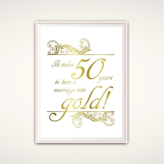 50th anniversary gifts for parents 50th anniversary print wedding