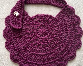 Purple Bib, Baby Shower Gift, Crochet Baby Bib, Dribble Bib, Girl's Bib, Newborn Gift, Crochet Bib, Toddler Gift, Baby Gift, Baby Bib
