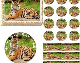 Bengal Tiger Edible Cake Topper Image, Bengal Tiger Cupcakes, Tiger Cake, Tiger Cupcakes, Bengal Tiger Party, Bengal Tiger Birthday