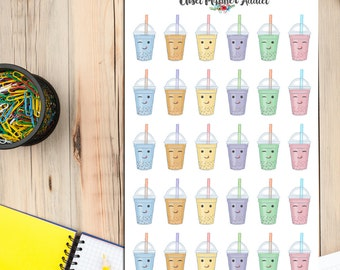 Kawaii Bubble Tea Planner Stickers | Bubble Tea Stickers | Kawaii Stickers (S-075)