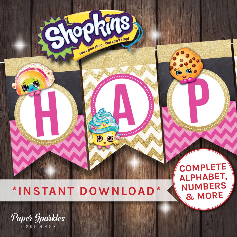 Shopkins Birthday Banner Shopkins Party Banner: Shopkins Banner Shopkins Bunting Shopkins By