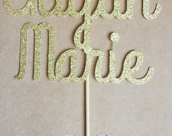 Personalized Name Cake Topper, Glitter Cake Topper