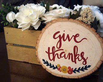 Give Thanks fall,wood home decor