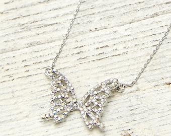 Butterfly necklace, wedding necklace, bridesmaid necklace, bridesmaid gift, dainty necklace, simple necklace, rhinestone necklace