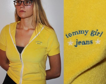 90s yellow cropped Tommy Girl Jeans track Jacket, 90s Tommy Hilfiger Jacket Top, Tommy Girl Shirt, Terrycloth Jacket,VTG Track Jacket, S