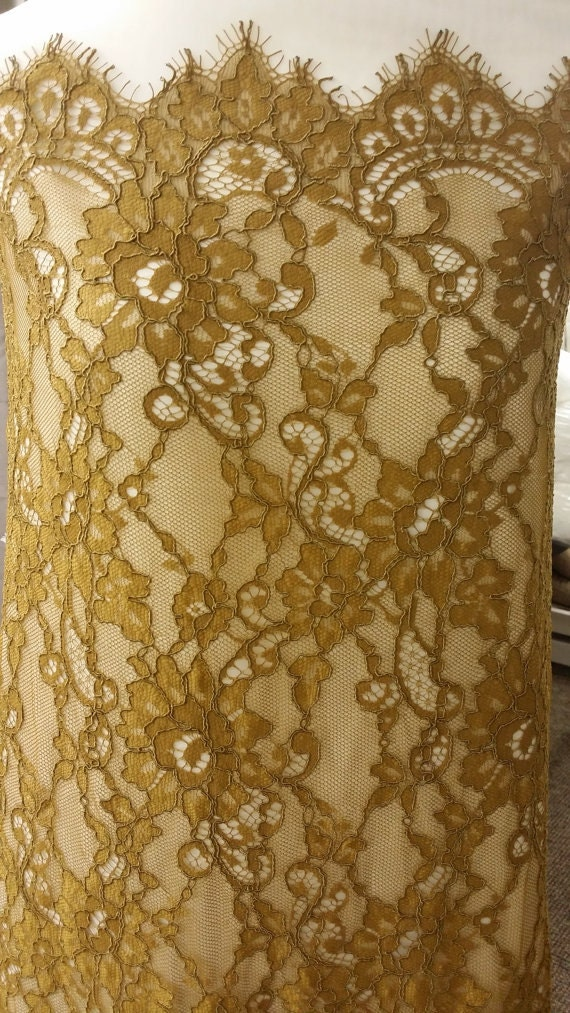 Brown lace fabric by the yard Spanish Lace Alencon Lace