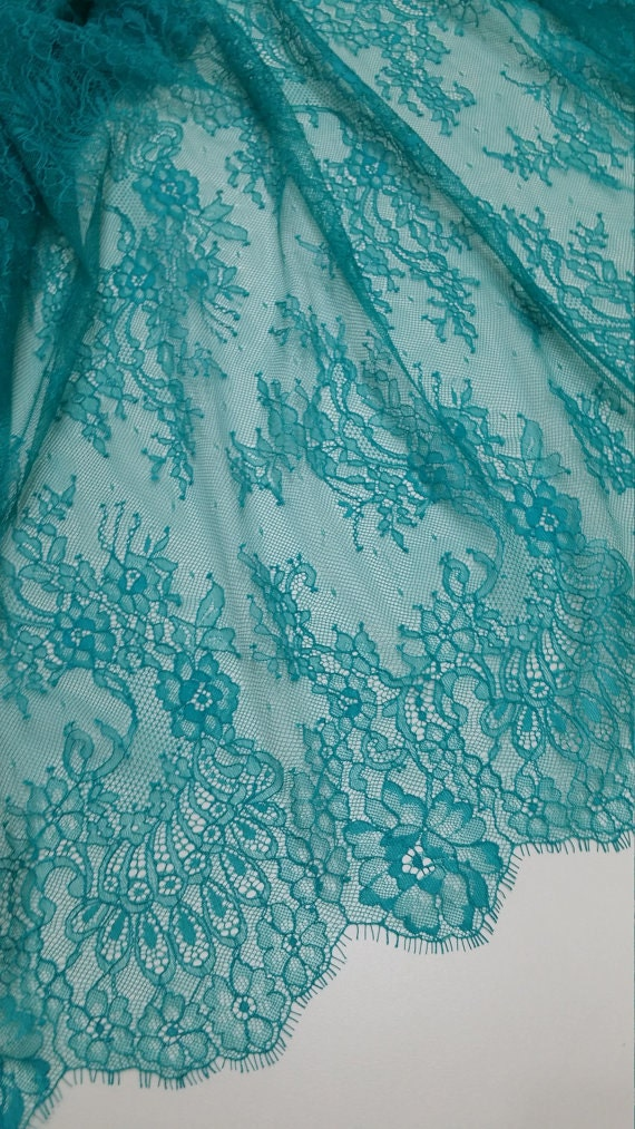 Green lace fabric chantilly lace french lace bridal lace - Chantilly telas ...