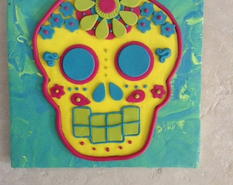 Candy-Bright Sugar Skull Day of the Dead Wall Art Hanging
