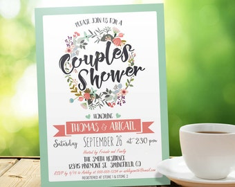Mint Green and Coral Couples Shower Invitation - Personalized Printable DIGITAL FILE