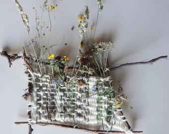 Fiber & Flora,  Real Wild Flower Weave. / Hand Woven Natural Botanical Art / Organic Natural Floral Decor / Wild Flower Bouquet