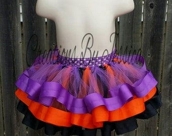 Black, Orange, and Purple ribbon trim tutu.. Black ribbon trim tutu.. orange ribbon trim tutu.. purple ribbon trim tutu..