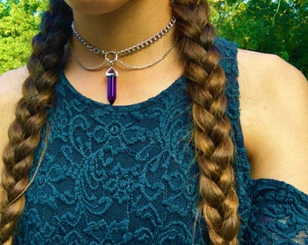 crystal choker (dark purple)