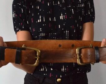 Vintage Leather Belt, Vintage Double Buckle Belt, Simboli, 1970s Leather Belt, Simboli Numbered Belt, Black and Brown Leather Belt