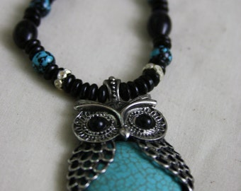 Black and Turquiose Owl Necklace // Ko'ko Necklace