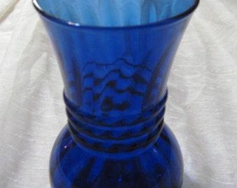clear cobalt blue glass swirl bud flower vase