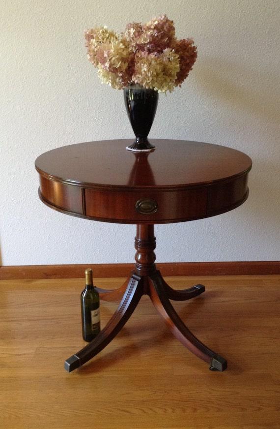 Vintage Mahogany Drum Table Barton Table Round Table Hall