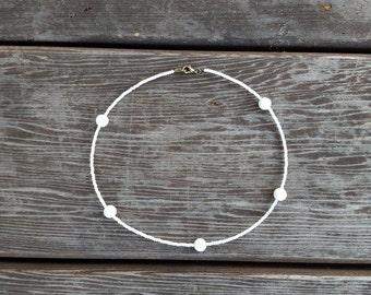 White Beaded Choker,White Seed Bead Choker,Seed Bead Necklace,Quartzite Beads, White Necklace, Small Beads, Minimal Choker, Czech Glass